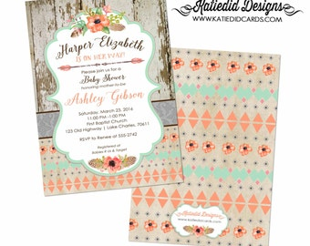 Tribal baby shower invitation couples Boho mint coral diaper wipes gender reveal neutral girl sprinkle sip see twins coed | 1445 Katiedid