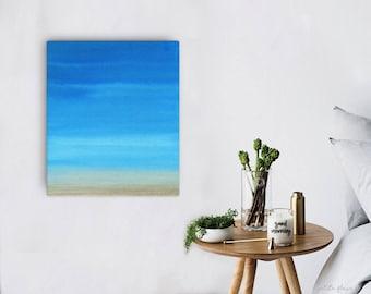 Watercolor Ocean Painting Abstract Canvas Print - Aqua Teal Blue Sea Coastal Beach Giclee Art Print - 8x10/11x14/12x16/16x20 - Topaz Blue