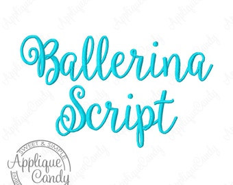 """Ballerina Script Embroidery Font - Letters Numbers & Punctuation  - 2 Sizes - 1"""" and 2"""" Machine Embroidery Font INSTANT DOWNLOAD"""