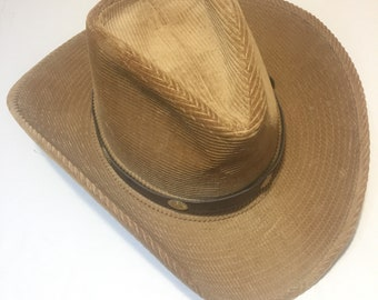 Resistol Western Cowboy Hat Tan Corduroy With Brown Leather Band Sz 7 1/8 VTG
