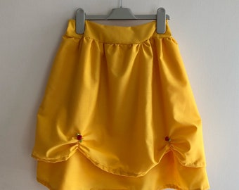 Belle inspired skirt, in adult size, with elasticated waist in a yellow with red roses