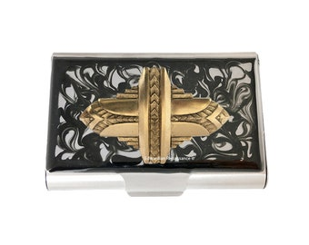 Art Deco Large Business Card Case Inlaid in Hand Painted Enamel Enamel Black Ink Swirl Design with Color and Personalized Options Available