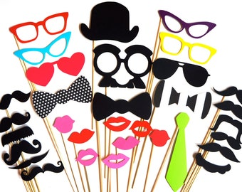 SALE - Bright Colored Photo Booth Prop Set - 32 pieces on a stick - Birthdays, Weddings, Parties - Great Photobooth Props