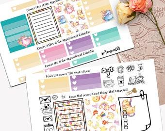 Rainbow Unicorn Theme Planner Weekly Sticker SMALL Kit, Passion Planner Sticker, Weekly Set, Sticker, Printed, Cut, Unicorn, Majestic AF
