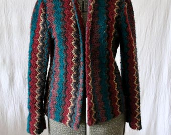 Vintage SMALL Multi-Color Knit Open Cardigan, Light Weight 70s Sweater