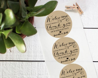 Wedding Favor Labels - Welcome Design - Round - Welcome Favor Labels | Thank You Favor Labels | Welcome Bag Labels | Welcome Box Labels