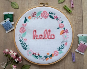 Hello Floral Wreath Modern Cross Stitch Pattern PDF, Flower Embroidery, Floral Pattern, Welcome Sign Chart, Baby Announcement, Hoop Art