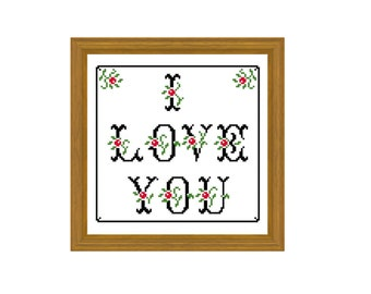 I Love You - Easy cross stitch pattern . Instant download PDF
