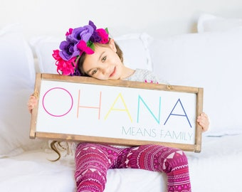 Lilo and Stitch Quote - Rainbow - Lilo and Stitch - Ohana Means Family - Wood Sign