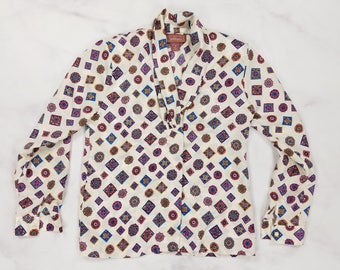 Vintage 80s Geometric Floral Shiny Long Sleeve Button Front Blouse, Womens Size 6