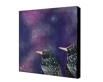 Star Gazers Starling painting - speckled black bird painting - purple nebula space painting - stars and galaxy art - birds in space