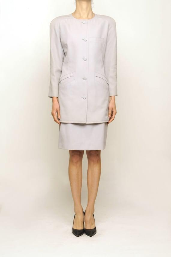 courreges 1970's Off Gray Wool Suit