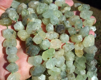 Natural Prehnite Irregular Nugget Faceted Beads Strand, 16-Inch Strand G01143