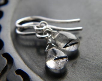 Tourmalated quartz black inclusions tiny smooth briolette sterling silver earrings - handmade gemstone wire wrapped jewelry