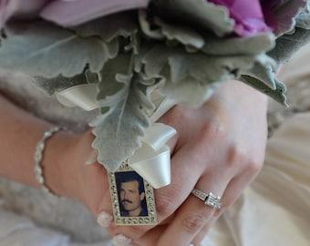 Hochzeit Bouquet Charme, Bridal Andenken, Rechteck, personalisierte, individuelle Foto oder Bild
