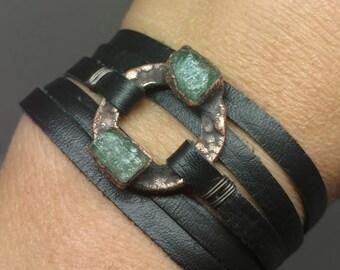 Raw Crystal - Gifts for Her - Leather Wrap Bracelet - Raw Stone Bracelet - Unique Jewelry - Crystal Wrap Bracelet - Emerald Wrap Bracelet