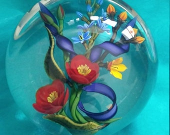 """Buzzini """"One of One"""" Stunningly Clear Colorful Vivid Paperweight"""