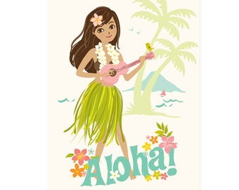 Hawaii wall art, Aloha, Hawaiian, Hula Girl - nursery art for girls, toddler girl room art