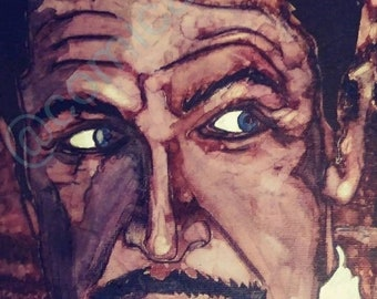 Original vincent price 9x12 alcohol ink on canvas board