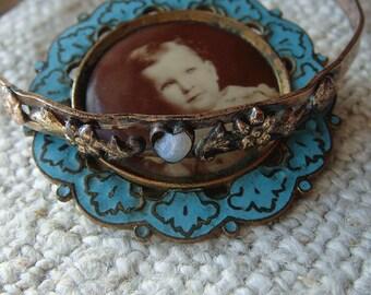 Antique Victorian Enamel Cloisonne Photo Brooch and Childs Bracelet