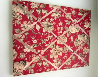 "16""x20"" Jacobean Rose Blooms Memory Board, Bow Holder, Ribbon Board, Vision Board, Photo Display, Business Card Holder, Dream Board"