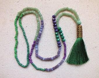 Tassel Necklace Emerald Necklace Beaded Necklace Long Tassel Necklace Tribal Necklace Tiny Bead Necklace Long Necklace Bohemian Necklace
