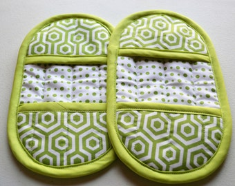 Green Pot Holder - Oven Mitt Set - Hot Pads - Green Pot Holders - Pot Holders - Oven Mitt - Green Oven Mitts - Kitchen Hot Pads
