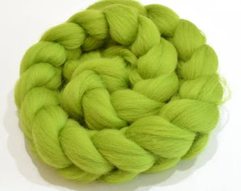 Merino Wool Combed Top - Light Green - 100 grams