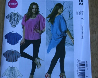 McCalls Misses tops pattern, sewing pattern, Tunic blouse, new uncut pattern, xs s m loosefitting, layering look, Lagenlook, easy M6652 2012