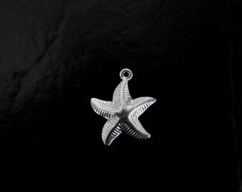 One Sterling Silver Starfish Charm 15x18mm, Made in USA, SC9