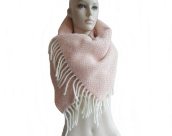 Pink Scarf Winter Scarf Plaid Scarf Geometric Scarf Blanket Wool Scarf Gift for Her Pink Scarf Women Accessory
