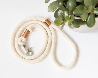 Cotton rope dog leash Bronze | braided cotton rope dog leash | dog leash | natural dog lead | dog apparel