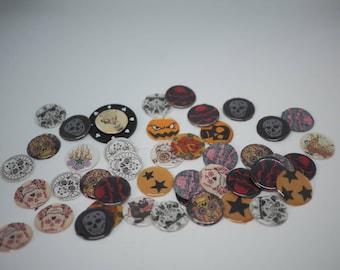 Set of tattoo skull horror themed handmade fabric/ paper backed resin cabochon