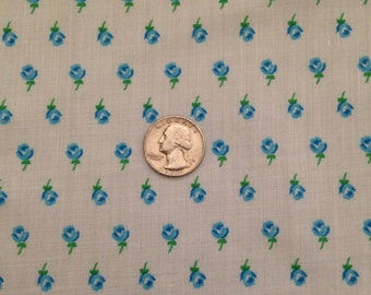 1970's Vintage Fabric - Small Blue Roses - 1 yard
