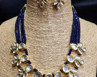 INDIAN KUNDAN NECKLACE   Kundan Necklace With Earrings,Indian Jewelry,Bridal Jewelry, Bollywood,Ethnic,Polki Necklace,Indian Wedding Jewelry
