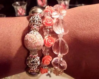 Pink breast cancer awareness charm bracelets