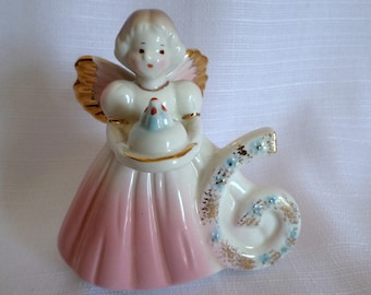 Vintage Josef Originals Birthday Angel Girl Age 6 Japan Excellent