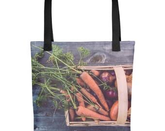 Farmers Market Shopping Tote Bag Garden Fresh Vegetables Reusable Grocery Nature Outdoors Purse