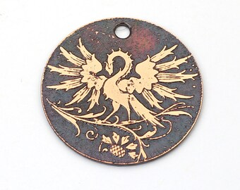 Handmade copper phoenix charm, round flat etched pendant, 25mm