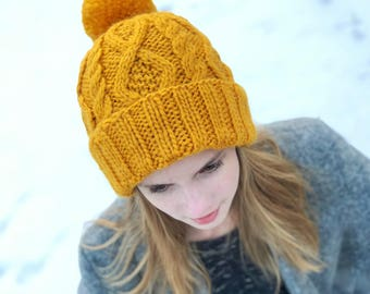 100% Wool Cable Knit Pom Pom Hat