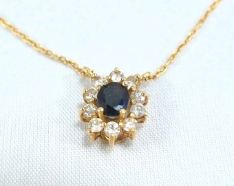 Charming 18K solid gold necklace with natural sapphire and earth mined brilliant cut diamonds French fine jewelry Stamped vintage jewelry