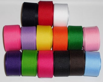20 Yards Solid Colors 7 8 inch Grosgrain Ribbon Mix