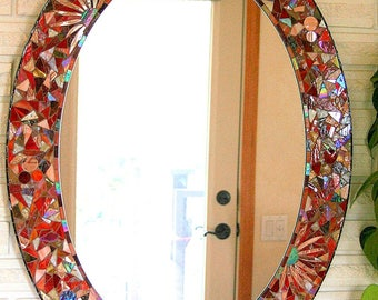"Oval ""Wild Thing"" stained glass mosaic mirror"