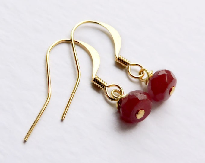 Genuine Ruby & Gold Drop Earrings - Real Precious deep red ruby faceted rondelle gemstone hook wire earrings - July birthstone