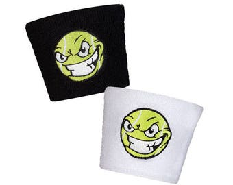 Raging Tennis Ball Tennis Wristbands in Black or White