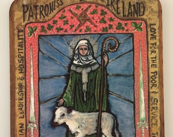 Saint Brigid St Brigid patron of Ireland gift for her retablo Retablos spanish colonial Irish luck Ireland catholic saint stocking stuffer