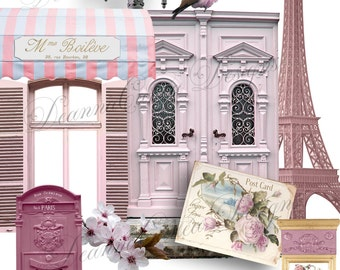 "Realistic Element Digital Scrapbooking Kit, ""Paris postcard"" png format, Instant download, altered art, scrapbooking, vintage clipart"