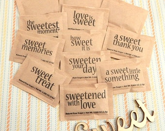 Natural Raw Sugar Packets, Sweet Sayings, Party Sugar Packets, Coffee Bar Packets, Wedding Sugar Packets, Bridal Shower Sugar - Set of 100