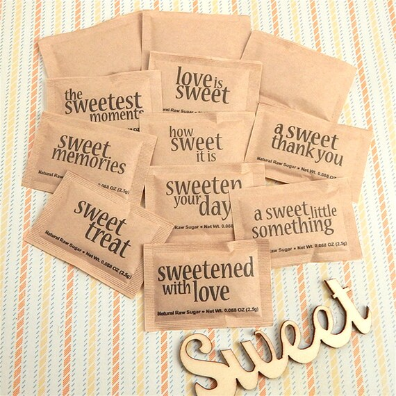Natural Raw Sugar Packets Sweet Sayings Party Sugar Packets