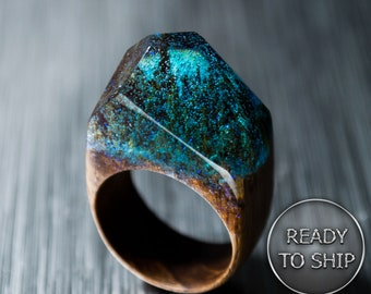 Wood Resin Ring for Women - Blue Resin Ring Wood Makes a Great 5th Anniversary Wood Gift for Women. Ready to Ship. Size 8 3/4 US.